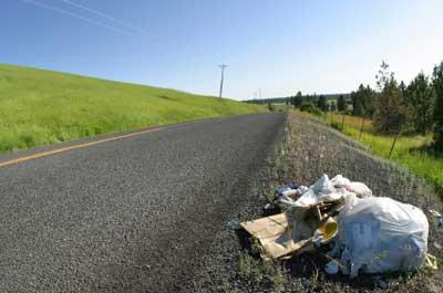 Müll in die Landschaft geworfen