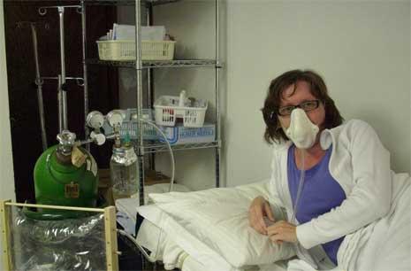Manuela im EHC bei der Sauerstofftherapie